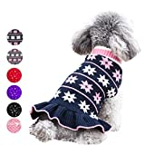 azuza Cute Dog Sweater Dress Dogs Pullover Turtleneck Knit Back Length 8' Snowflake Fall Winter Warm for Small Dogs Sweater