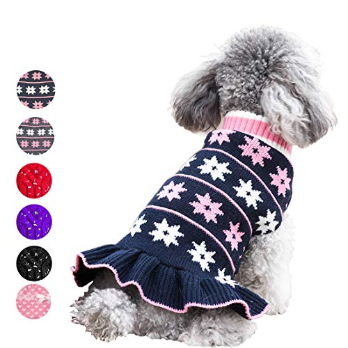 azuza Cute Dog Sweater Dress Dogs Pullover Turtleneck Knit Back Length 10 Snowflake Fall Winter Warm for Small Dogs Sweater