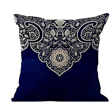 Blue and white porcelain boho style European pattern Throw Pillow Case Cotton Blend Linen Cushion Cover Sofa Decorative Square 18 Inches