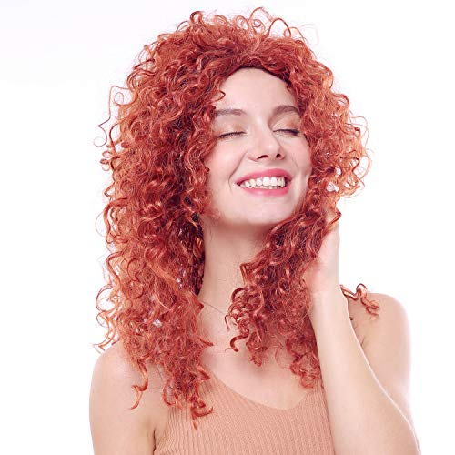 (Princess Merida Wigs for Women Fluffy Curl Brown Wig Party Halloween Long Costume Curly Brown)