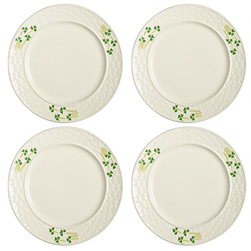 Celtic Classics Traditional Irish Basket Weave Shamrocks Dinner Plates, Set of 4 (Weave Plate)
