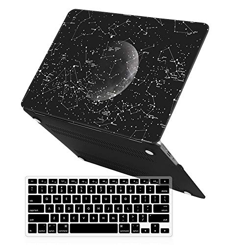 iCasso MacBook Air13 Inch Art Printing Matte Hard Shell Plastic Protective Case Cover for MacBook Air 13 Inch Model A1369/A1466 with Keyboard Cover -Moon Constellations
