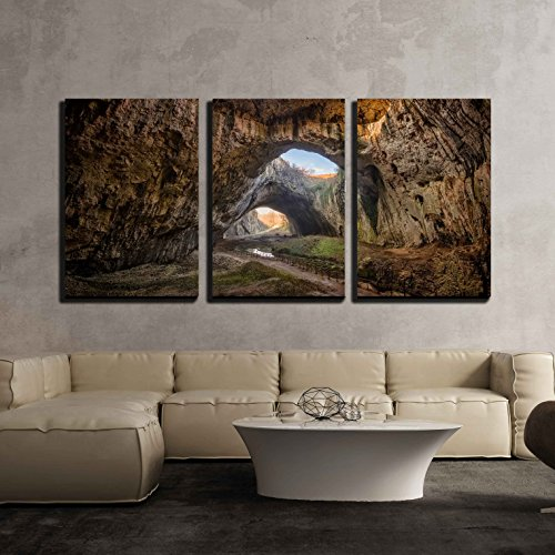wall26 - 3 Piece Canvas Wall Art - The Cave - Magnificent View of The Devetaki Cave, Bulgaria - Modern Home Decor Stretched and Framed Ready to Hang - 16