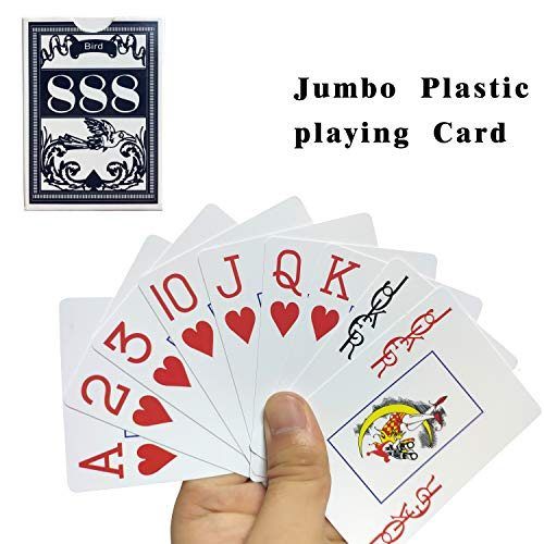 (Neasyth Waterproof Plastic Playing Cards,Jumbo Index, for Texas Hold'em, Blackjack, Pinochle, Euchre, for Pool Beach Water Games)