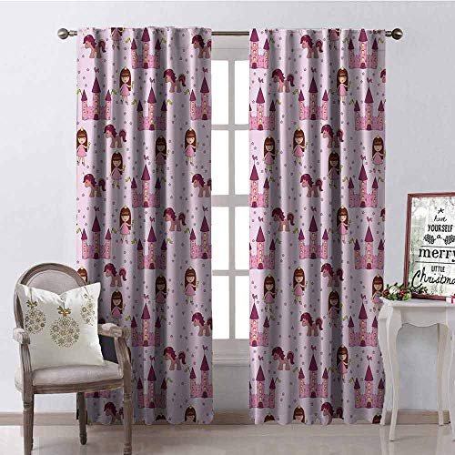 GloriaJohnson Kids Blackout Curtain Princes with Castle and Unicorn Stars Background Cartoon Drawing Style 2 Panel Sets W52 x L63 Inch Pale Mauve Pink Brown