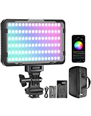 Neewer RGB Video Light with APP Control, 360° Full Color Led Camera Light CRI95+ Dimmable 3200K-5600K, 9 Light Scenes with 2600mAh Battery and Charger for YouTube DSLR Camera Camcorder Photo Lighting