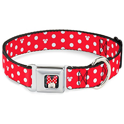 Buckle-Down Seatbelt Buckle Dog Collar - Minnie Mouse Polka Dot/Mini Silhouette Red/White - 1.5