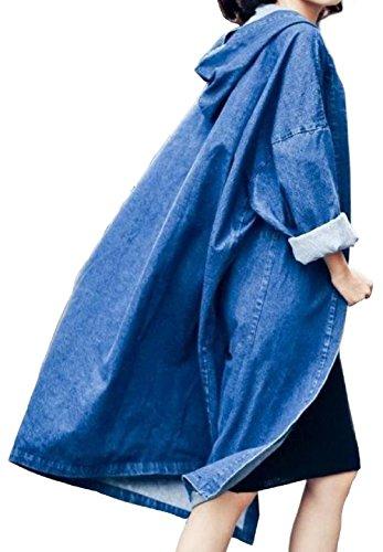 Felpa Color Lunghe Cardigan Giacche Jacket Cappuccio Inverno Lunga Oversize Denim Parka Cappotto Aperto Giacca 01 Davanti Giubbotto Con Di Jeans Capisalla Steampunk Maniche Vintage Trench Donna Autunno Ragazza UxgFTwzq