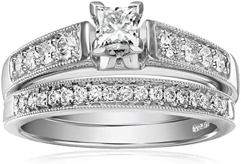 IGI Certified 14k White Gold Diamond Classic Bridal with Millgrain and Princess Cut Center Wedding Ring Set (1 cttw, H-I Color, I1-I2 Clarity)