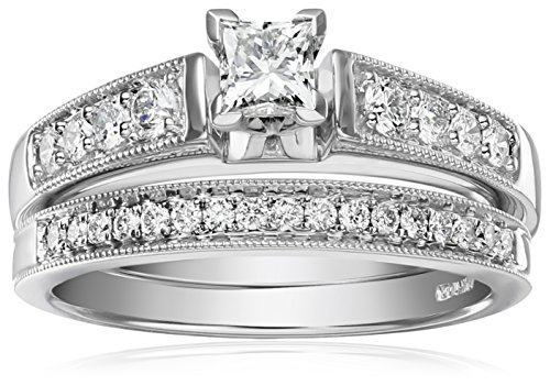 IGI-Certified-14k-White-Gold-Diamond-Classic-Bridal-with-Millgrain-and-Princess-Cut-Center-Wedding-Ring-Set-1-cttw-H-I-Color-I1-I2-Clarity