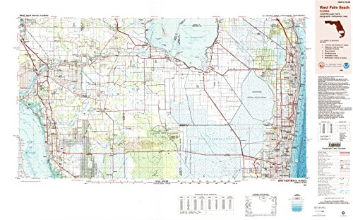 West Palm Beach FL topo map, 1:250000 scale, 1 X 2 Degree, Historical, 1987, updated 1988, 24.1 x 38.7 IN - - Beach West Wellington Palm