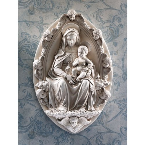 Sculpture Madonna - Classic Italian Madonna and Child Cherub Wall Sculpture Statue Inspired By An...