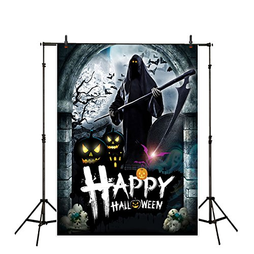 Halloween Decor Youtube (Allenjoy 5x7ft Polyester Halloween Backdrop Death with Its Scythe Vintage Arch Door Background for Photography or Party Decoration)