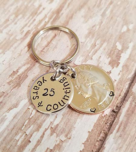 25 Years and Counting Hand Stamped Key Chain 25th Anniversary Gift with a 1994 or 1995 Quarter