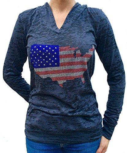 SoRock Studded USA Flag Burnout Hoodie XLarge Black