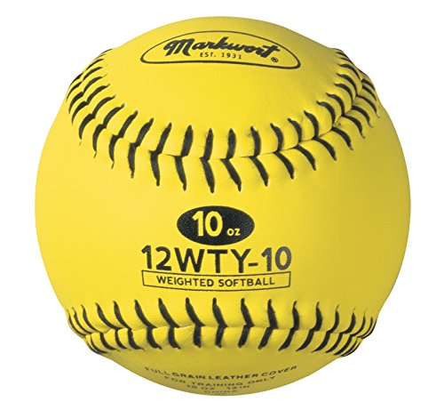 Markwort Lite Weight and Weighted Leather Softball, Optic Yellow, 10-Ounce