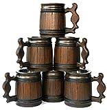 Handmade Beer Mug Oak Wood Stainless Steel Cup Gift Natural Eco-Friendly Wooden Tankard 0.3L 10oz Classic Brown (Set of 6 Mugs)