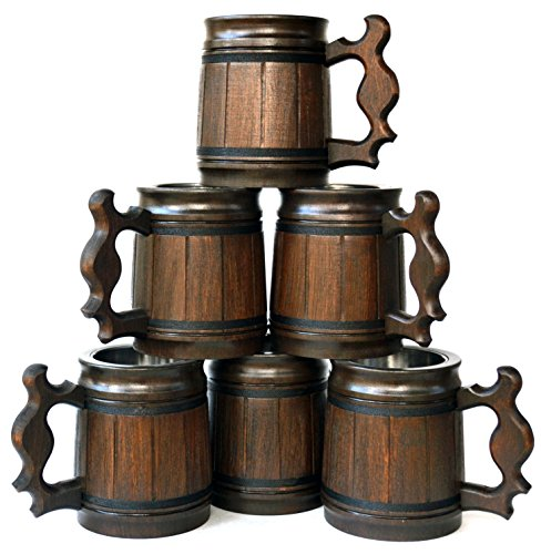 Handmade Beer Mug Oak Wood Stainless Steel Cup Gift Natural Eco-Friendly Wooden Tankard 0.3L 10oz Classic Brown (Set of 6 Mugs)