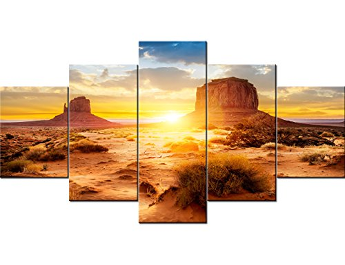 Art Work for Home Walls the Monument Valley Tribal Park At Sunrise, Arizona Pictures U.S Paintings 5 Panel Canvas Artwork Home Decor for Living Room Framed Gallery-wrapped Ready to Hang(60''Wx32''H)