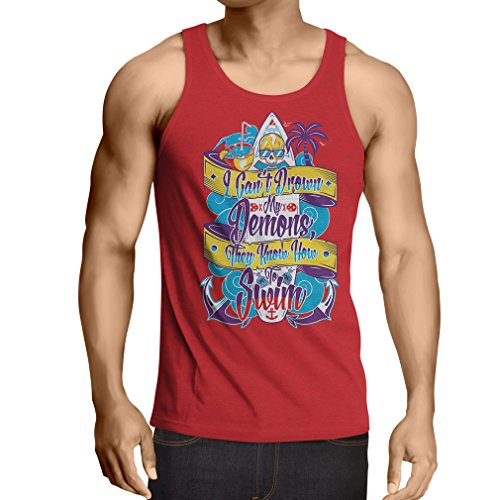 lepni.me Vest I Can't Drown My Demons They Know How to Swim - Surfer Clothing, Surfing Quotes (Large Red Multi Color) (Surfboard Couple Stand)