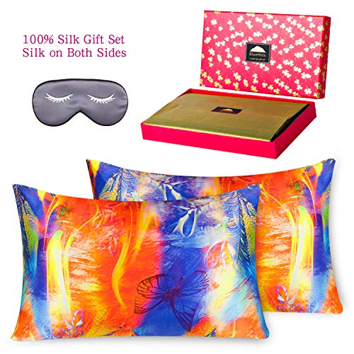 BlueHills 3 Piece Luxury Silk Gift Set 100% Pure Mulberry Natural Soft Silk Pillowcase 2 Pack for Hair and Skin Hidden Zipper & Pure Silk Eye Mask in Gift Box, Orange Design Pattern,Queen Size, QD003
