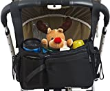 Stroller Organizer Bag with Stroller Hook - Extra Storage Space - Parent Organizer for Stroller - Universal Fit - Cup Holders - Parent Console for Single & Double Stroller