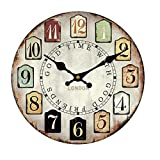 Cheap 20″ Large Old Fashion Silent MDF Wooden Waterproof Wall Clock Rerto Style for Home Decoration