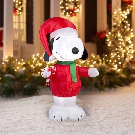 Gemmy Airblown Christmas Inflatables Snoopy with Candy Cane, 5' by Gemmy