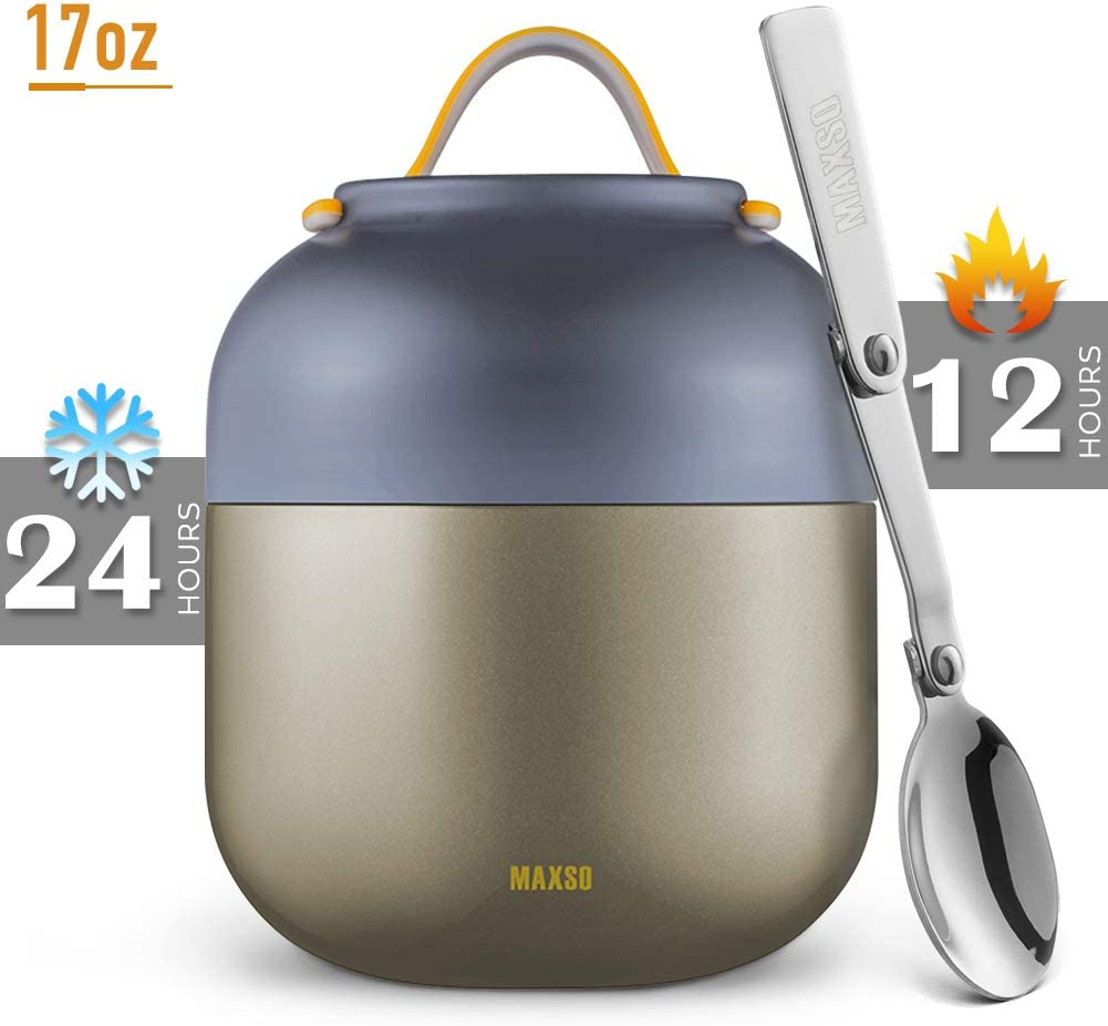 MAXSO 17oz Thermos Food Jar Insulated Lunch Container Vacuum Insulated Lunch Box Leak Proof Cold Hot Food Container Stainless Steel Soup Thermos for Kids Adults School Office Travel Grey