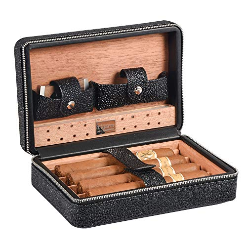 Travel Cigar Humidor, Volenx Leather Cigar Travel Humidor Case with Cigar Humidifier & Cutter Wooden Cigar Box for 4 Cigars(Black)