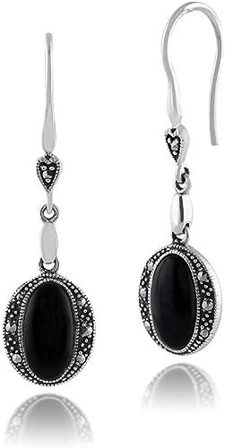 Vintage Schwarzer Onyx Markasit 925 Sterling Silber Ohrringe
