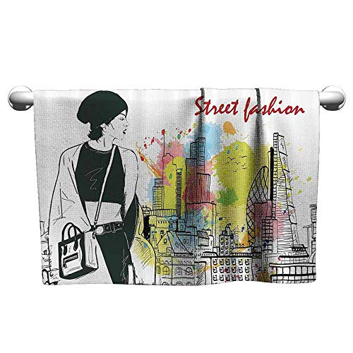- DUCKIL Custom Towel Fashion House Decor Girl in Hovel Style Clothes Citys Skyscrapper Scene Street Fashion Modern Bath Sheet 39 x 20 inch Black White