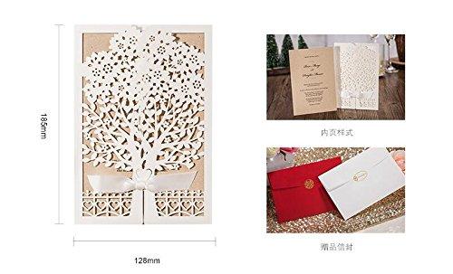 100x Wishmade White Tree Design Wedding invitation card, business invitation card, Party invitation card CW6176 by wishmade (Image #6)