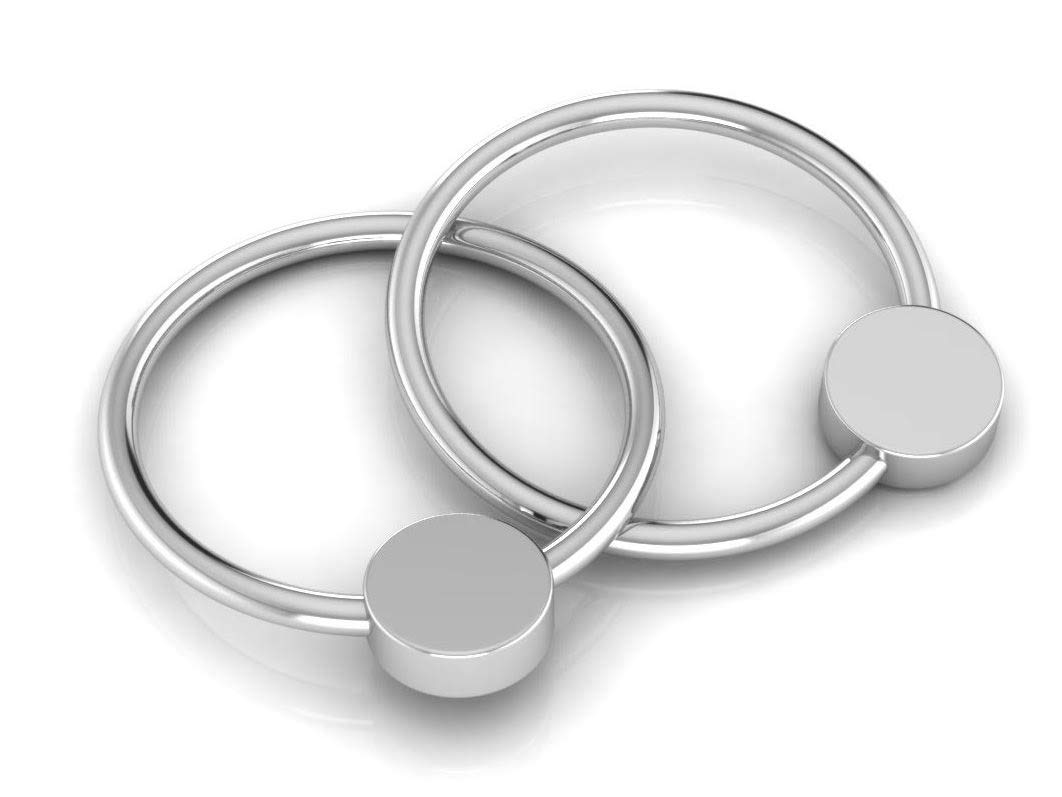 Amazon.com: Krysaliis - Sonajero plano de plata de ley con 2 ...