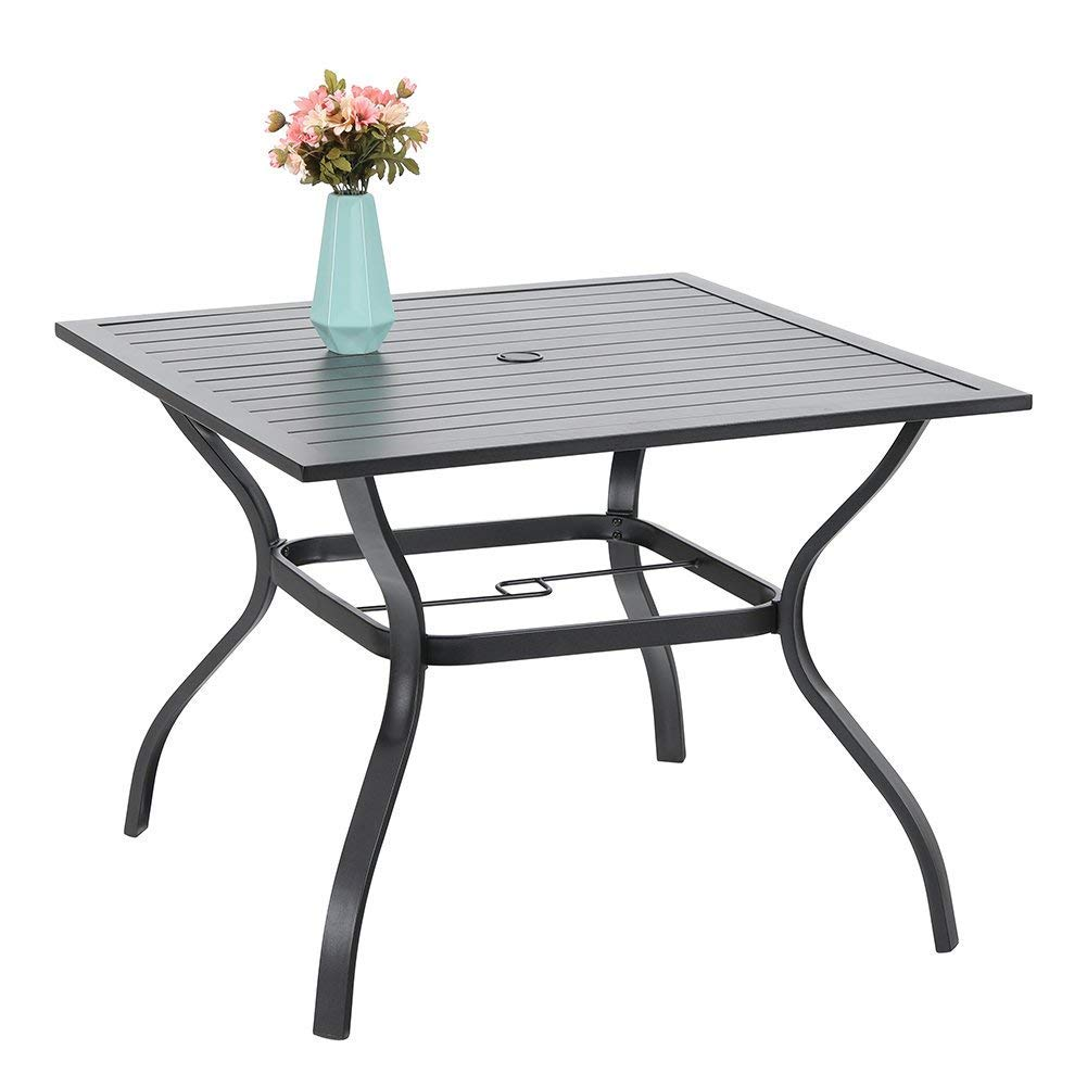 "PHIVILLA 37"" Metal Steel Slat Patio Dining Table Square Backyard Bistro Table Outdoor Furniture Garden Table, 1.57"" Umbrella Hole, Black"