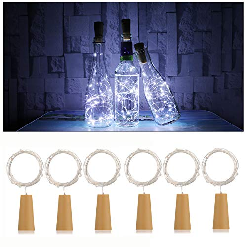 (6 Pack 20-LEDS Spark I Wine Bottle Light, AnSaw Cork Shape Battery Copper Wire String Lights for Bottle DIY, Christmas, Wedding and Party Décor - White)