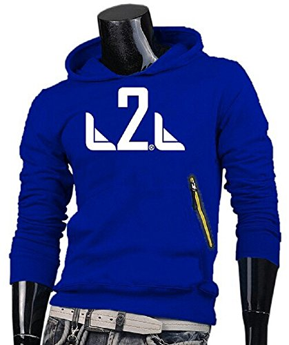 L2L Long Sleeve Pullover Hoodie with Stylish Slanted Zipper Pocket (Blue, (Stylish Hooded Zipper)