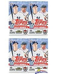 2019 Topps Series 1 MLB Baseball HOBBY Collection with FOUR(4) Factory Sealed HOBBY Foil Packs with 64 Cards! Loaded with Rookies, Insert & Parallel Cards! Look for Autos & Relics! Brand New! WOWZZER