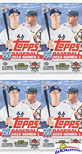 Rookie Card Foil - 2019 Topps Series 1 MLB Baseball HOBBY Collection with FOUR(4) Factory Sealed HOBBY Foil Packs with 64 Cards! Loaded with Rookies, Insert & Parallel Cards! Look for Autos & Relics! Brand New! WOWZZER