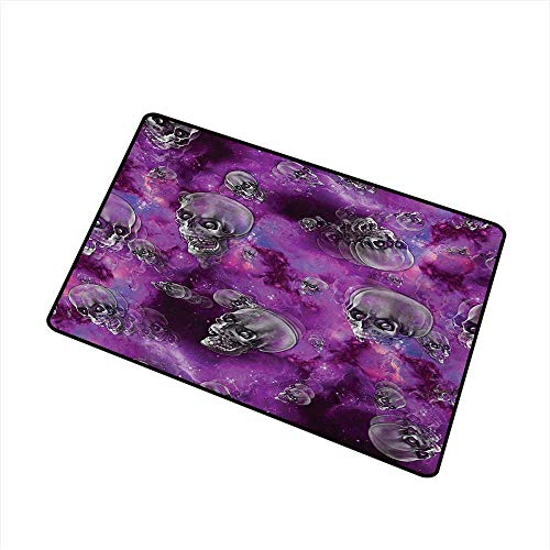 BeckyWCarr Skull Front Door mat Carpet Horror Movie Thirller Themed Flying Skull Heads Halloween in Outer Space Image Machine Washable Door mat W23.6 x L35.4 Inch,Black and Purple ()