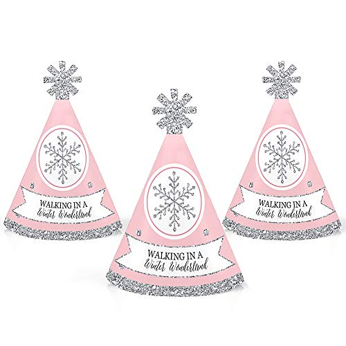 Pink Winter Wonderland - Mini Cone Holiday Snowflake Birthday Party or Baby Shower Hats - Small Little Party Hats - Set of 10 for $<!--$11.99-->