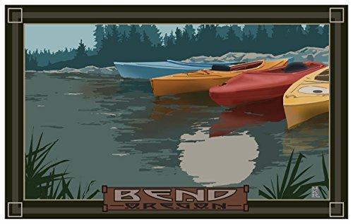 Bend Oregon Kayaks In Moonlight Travel Art Print Poster by Mike Rangner (12