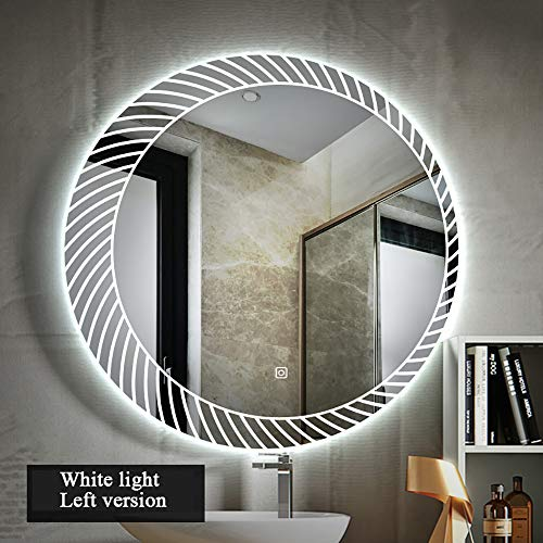Frameless Round Illuminated LED Backlit Bathroom Mirror Light with Touch Control Wall-Mounted - With Mirrors Shaver Socket Bathroom Backlit