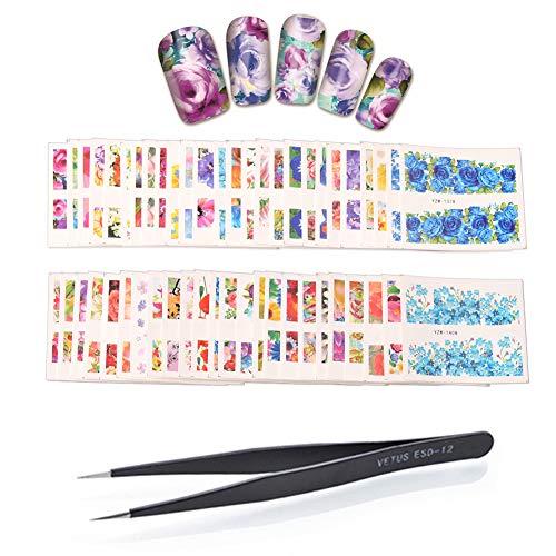 - WOKOTO 50 Sheets Big Flower Image Nail Art Stickers Water Transfer Decals With 1 Pcs Anti-Static Tweezers Nail Art Decoration Tool Kit