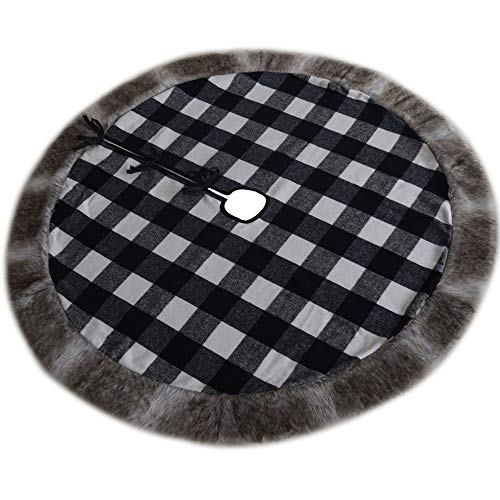 Gireshome White and Black Buffalo Check Plaid Center, Deluxe Faux Fur Border Christmas Tree Skirt (42inch) 10-15 Days DELIVERY