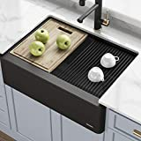 KRAUS 33' Bellucci Apron Workstation Kitchen Sink Farmhouse Single Bowl with Cutting Board in White