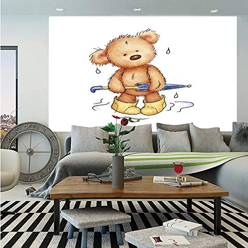(Bear Wall Mural,Teddy Bear Caught up in Rain with Rubber Boots Holding an Umbrella Cartoon,Self-Adhesive Large Wallpaper for Home Decor 55x78 inches,Sand Brown Yellow Blue)