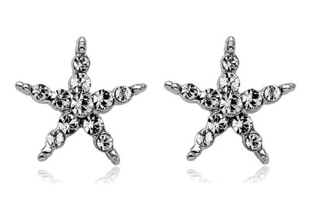 JNA Collection LOVE ROMANTIC GIFT 18K White Gold Plated Clear Cubic Zirconia Crystal CZ Star Starfish Gleaming Sparkle Comfor-fit Stud Earrings for Women Ladies Girls (SILVER)