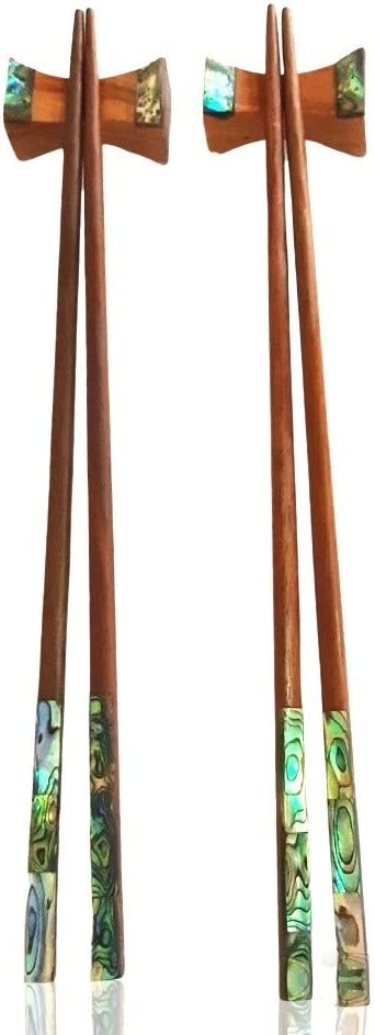 Pooltana 2 Pairs Rose Wood Chopsticks Abalone Shell Inlay Decor Handmade Natural Restaurant Food Tableware Home Gift Length 9.5 Inch With Box Set