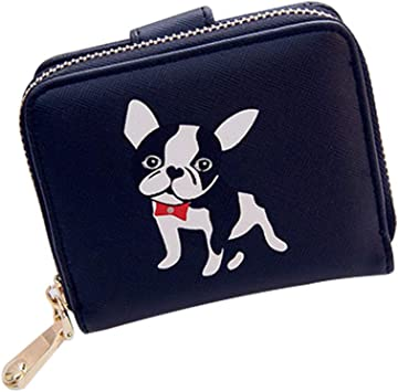 Leather Coin Purse Clutch Pouch Handbag with Cute Puppy Wallet/ for Women Girls Students